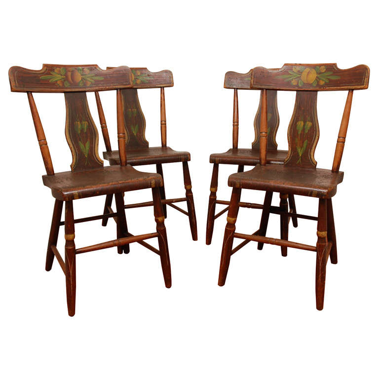 19th Century Original Painted Set of Four Pennsylvania Plank Chairs