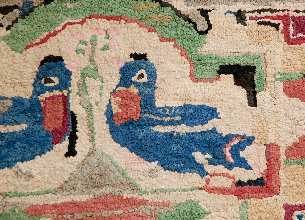 Folky Hand-Hooked Mounted Blue Birds Rug from Pennsylvania 2