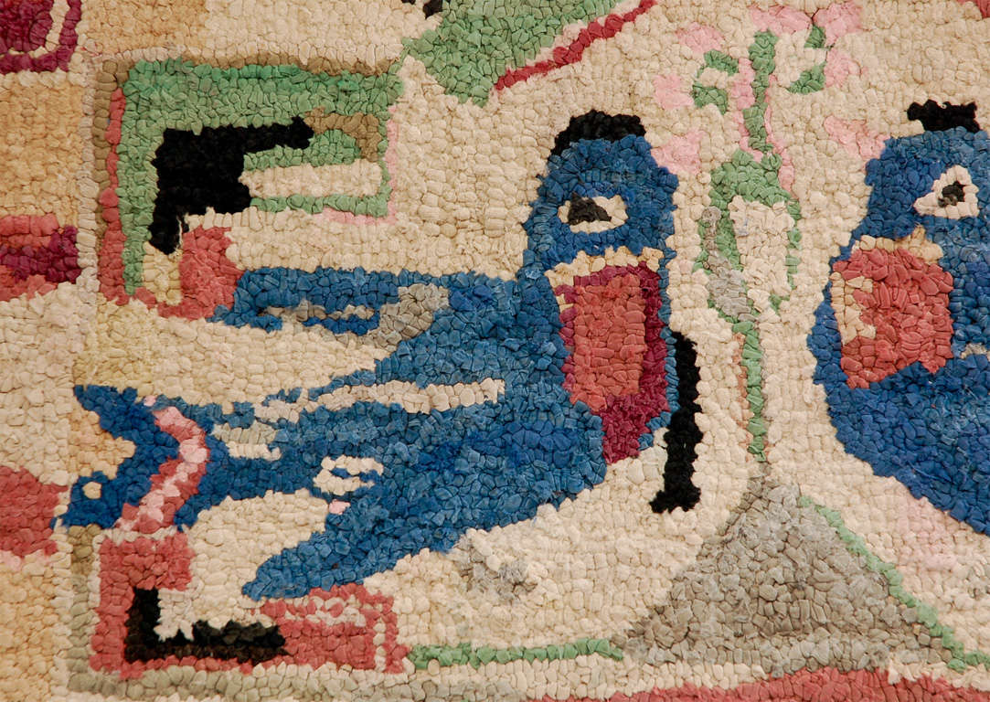 American Folky Hand-Hooked Mounted Blue Birds Rug from Pennsylvania For Sale