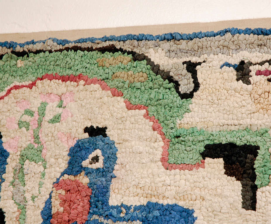 Folky Hand-Hooked Mounted Blue Birds Rug from Pennsylvania In Good Condition For Sale In Los Angeles, CA