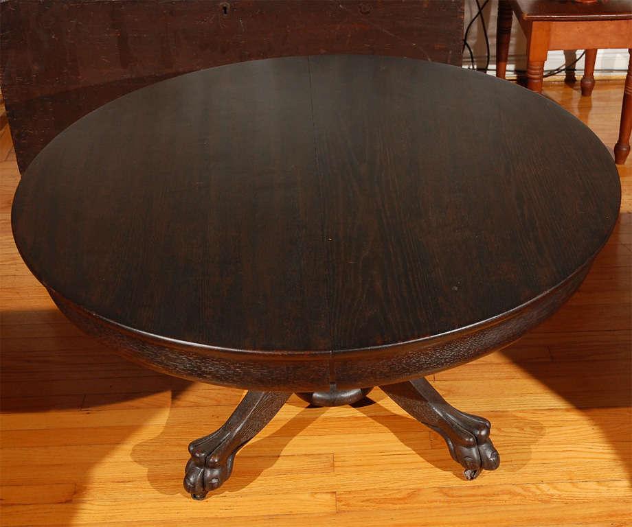 19th C Original Black Painted Claw Foot Pedistal Coffee Table Image 2