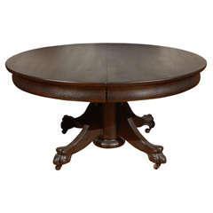 19th Century Original Black Painted Claw Foot Pedestal Coffee Table