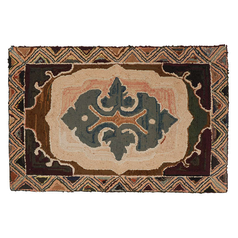 Fantastic Early Geometric Hand-Hooked Mounted Rug, Pennsylvania For Sale