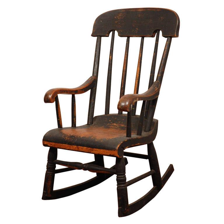 Tremendous Early New England 19Thc Original Painted Childs Rocking Inzonedesignstudio Interior Chair Design Inzonedesignstudiocom