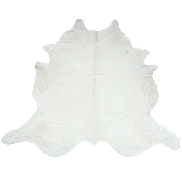 Rare All Natural White Cowhide Rug For