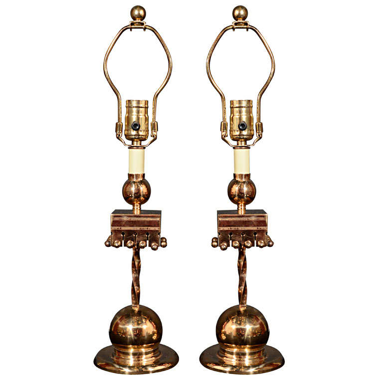 arts and crafts brass candlestick lamps at 1stdibs. Black Bedroom Furniture Sets. Home Design Ideas