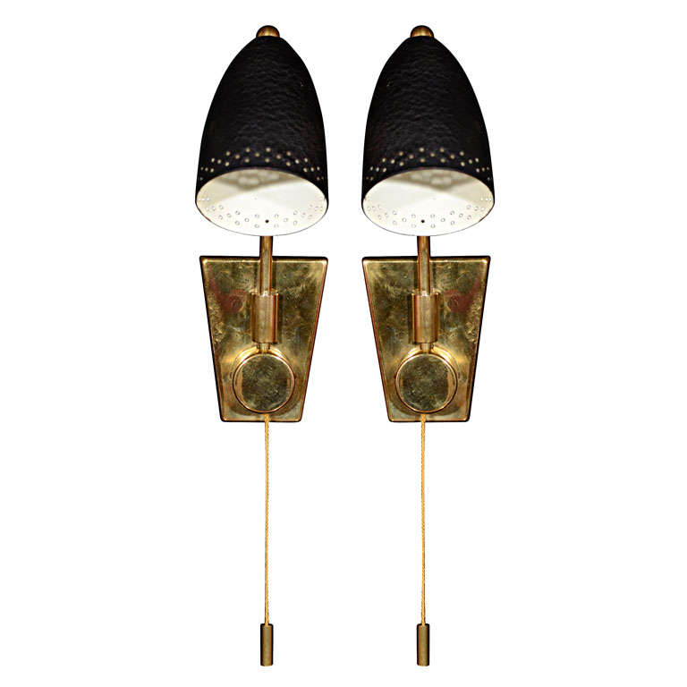Brass Wall Sconce With Black Shade : Brass one light sconces with black shade and pull cord at 1stdibs