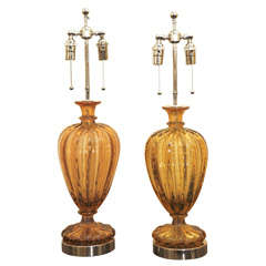 Pair Of Barovier Controlled Bubble Glass Lamps