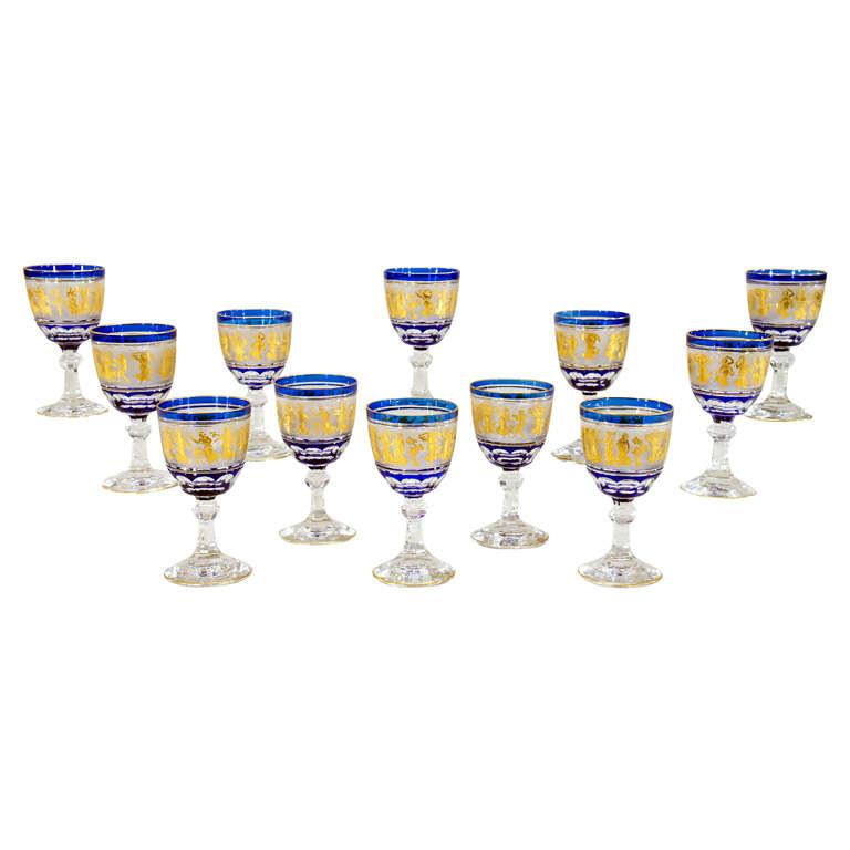 Set of 12 Val St. Lambert Cobalt Overlay Cameo Gilded Goblets