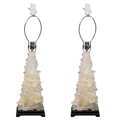 Pair of Custom Ivory Quartz Crystal Lamps with Ebony Bases