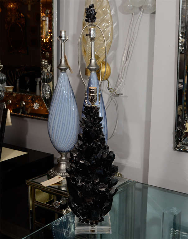 Beautiful pair of custom black quartz crystal lamps with Lucite bases. Customization available in different sizes.