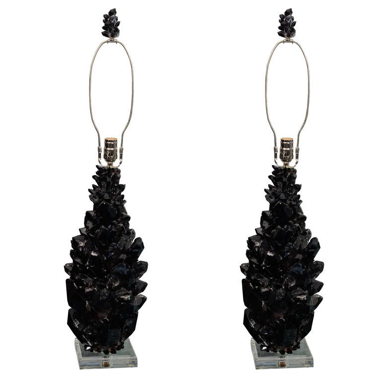 Pair of Custom Black Quartz Crystal Lamps with Lucite Bases For Sale