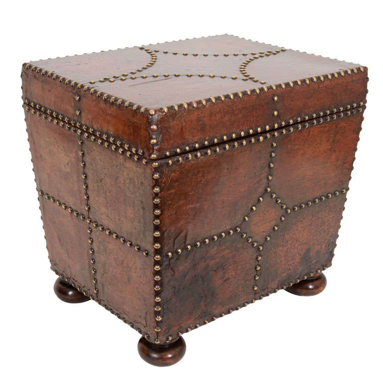 Silver Studded Coffee Table: Vintage Studded Leather Lift Top Table, England, Early