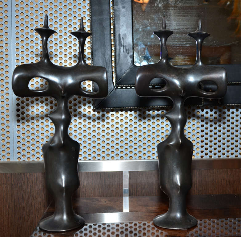 French Pair of Candle Sticks in Patinated Bronze by Victor Roman For Sale
