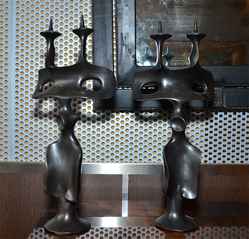 Late 20th Century Pair of Candle Sticks in Patinated Bronze by Victor Roman For Sale