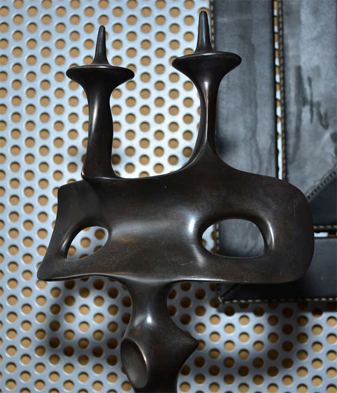 Pair of Candle Sticks in Patinated Bronze by Victor Roman For Sale 1