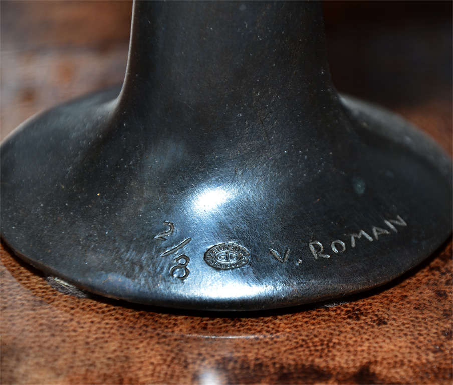 Pair of Candle Sticks in Patinated Bronze by Victor Roman For Sale 4