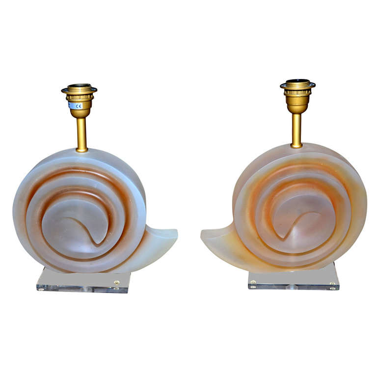 Pair of Resin Shell Lamps