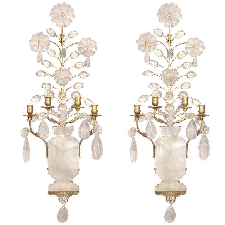 Rock Crystal Wall Sconces : Pair of Rock Crystal Sconces at 1stdibs