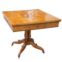 19th c. Charles X Burled Maple & Walnut Inlayed Center Table
