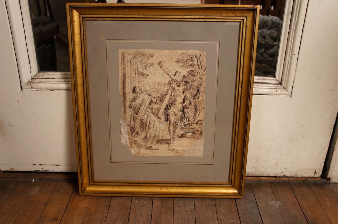 This lovely baroque ink drawing of Christ with the cross comes from a fine collection of drawings we have been honored to represent.  It is a study taken from the early 17th-century painting