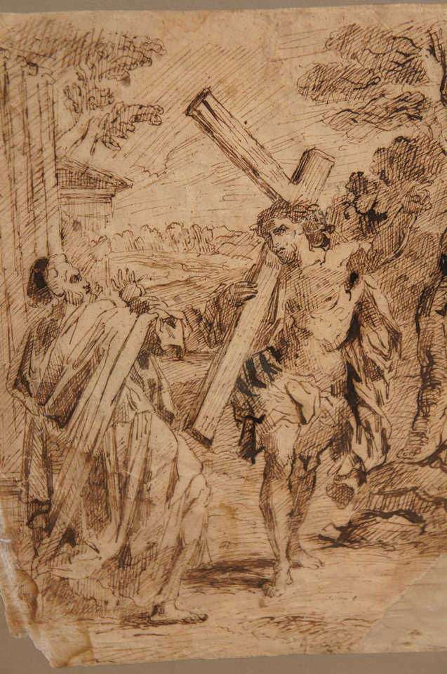 Baroque 17th Century Spanish Ink Drawing of Christ Carrying The Cross For Sale
