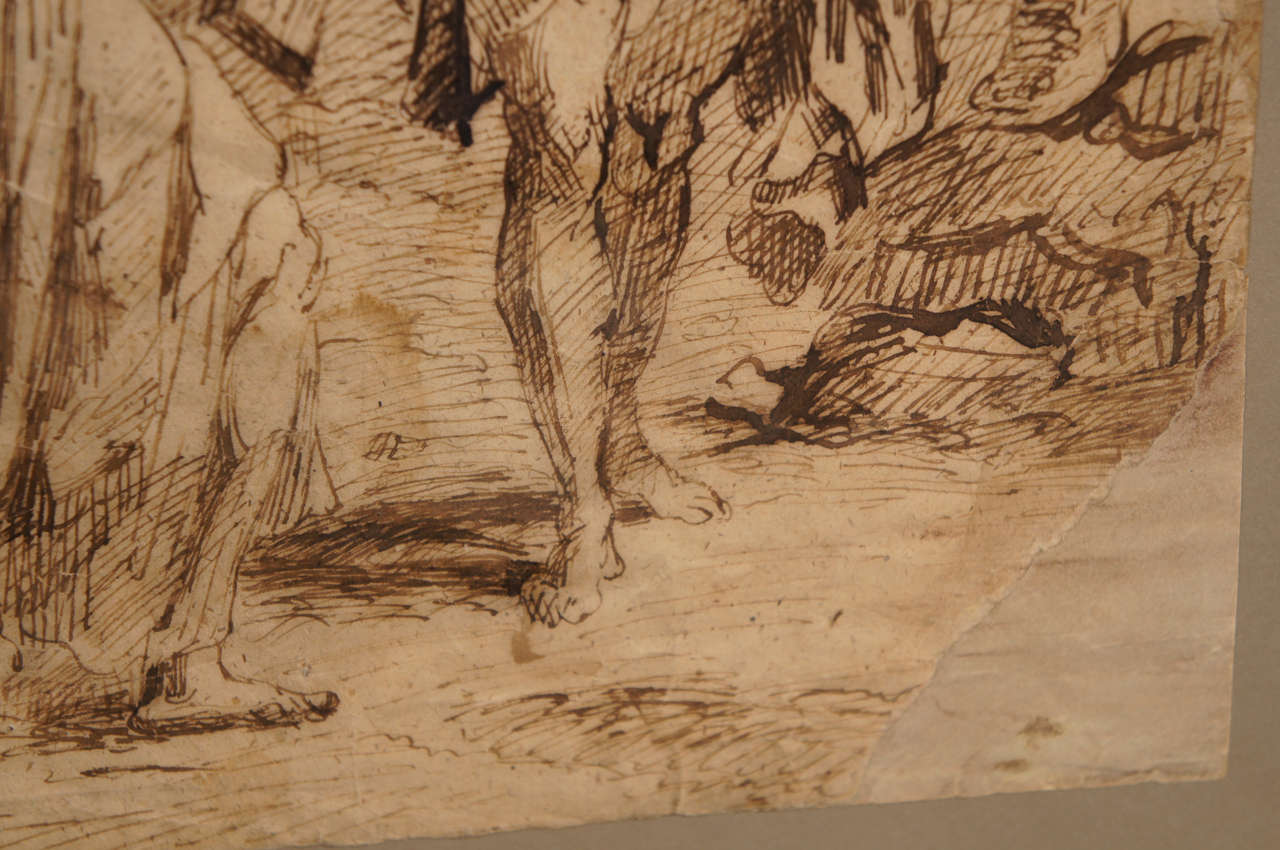 17th Century Spanish Ink Drawing of Christ Carrying The Cross In Good Condition For Sale In Hudson, NY