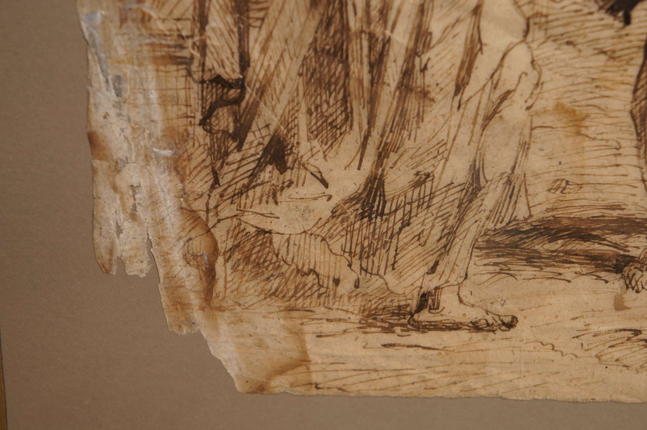 Paper 17th Century Spanish Ink Drawing of Christ Carrying The Cross For Sale