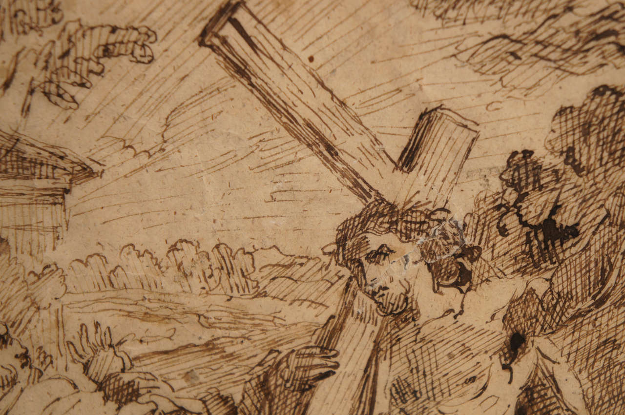 17th Century Spanish Ink Drawing of Christ Carrying The Cross For Sale 1