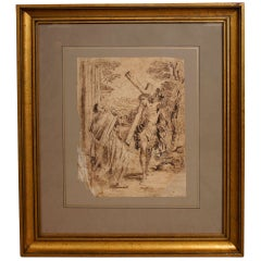17th Century Spanish Ink Drawing of Christ Carrying The Cross