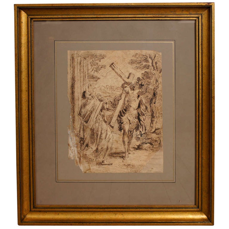 17th Century Spanish Ink Drawing of Christ Carrying The Cross For Sale