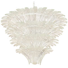 Italian Murano Glass Palmette Chandelier in the Manner of Barovier