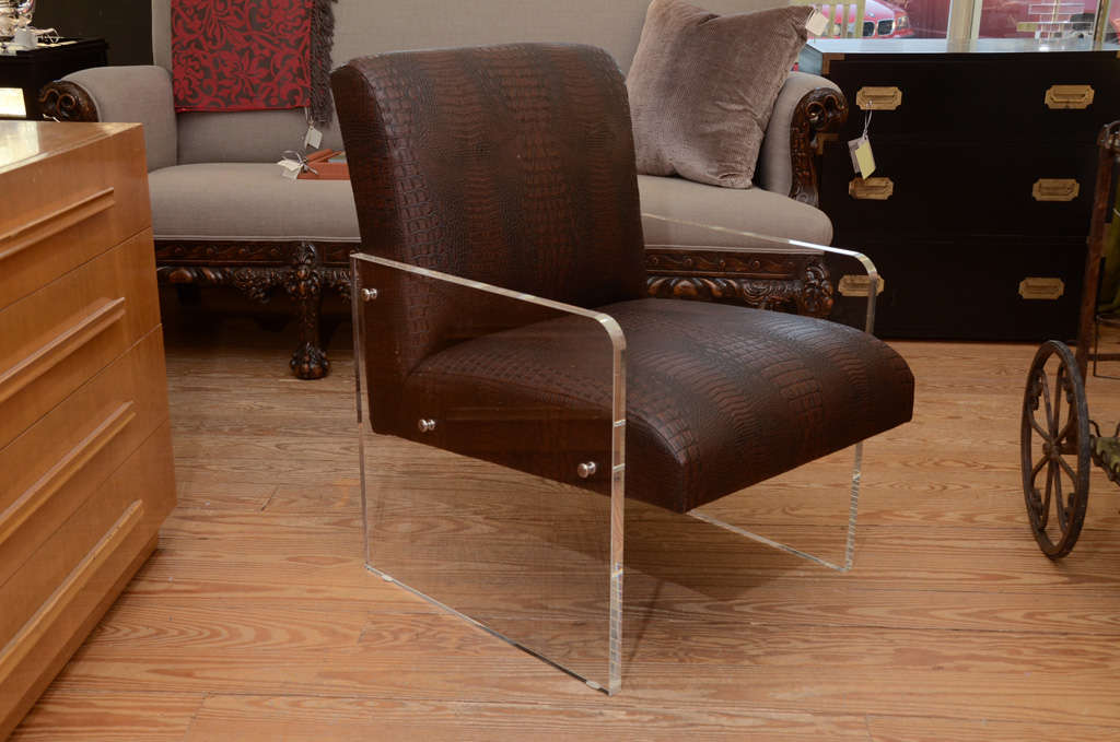 Stunning Lucite armchair in faux deep chocolate snakeskin.