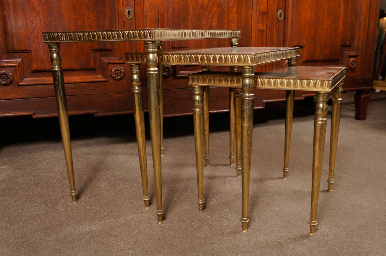 Set Of 3 Glass Tables: Set Of Three Brass And Antique Glass Nesting Tables At 1stdibs