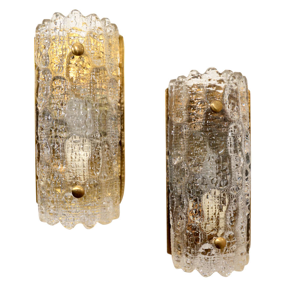 Pair of Carl Fagerlund Wall Sconces, Orrefors Glass and Brass, 1950s - 1960s