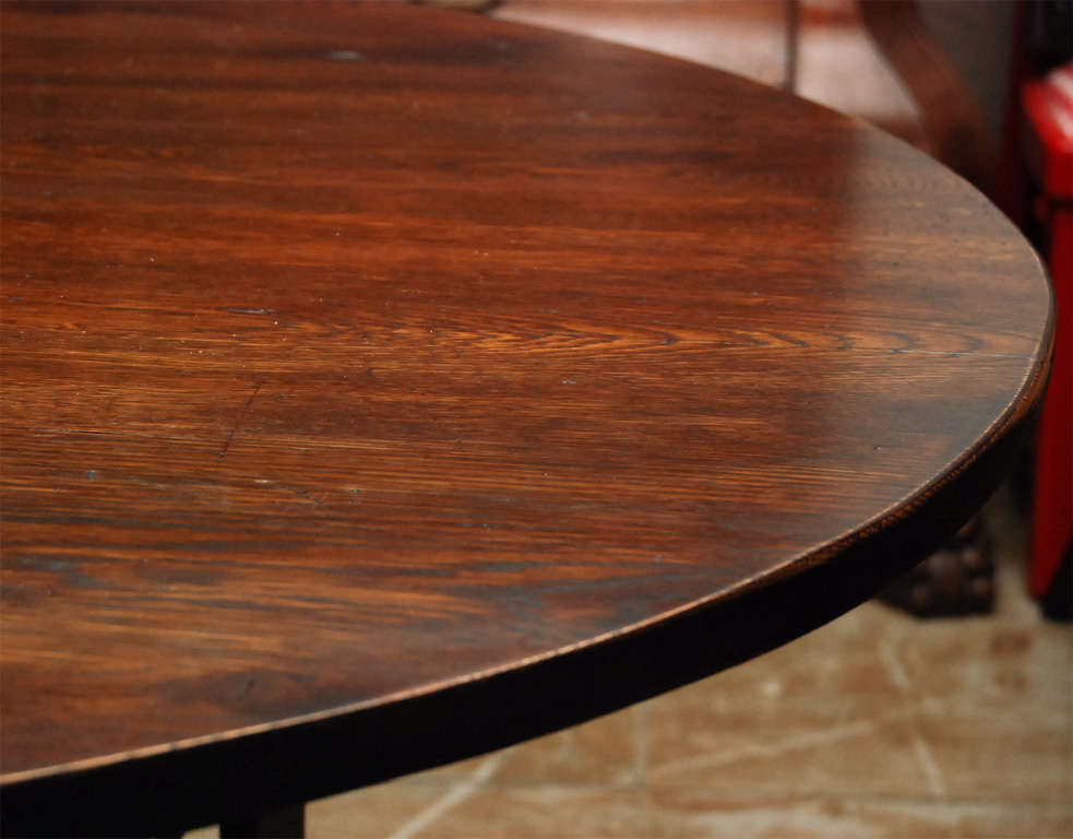 Oval Metal Base and Wood Top Dining Table For Sale 4