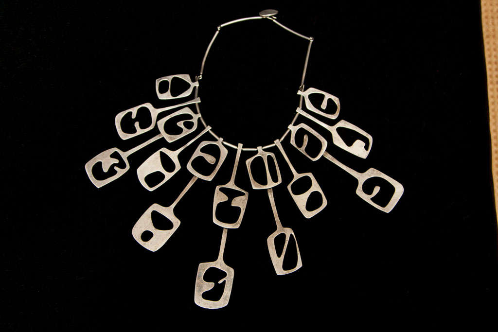 Unknown Mid Century Modernist Sterling Collar Necklace For Sale