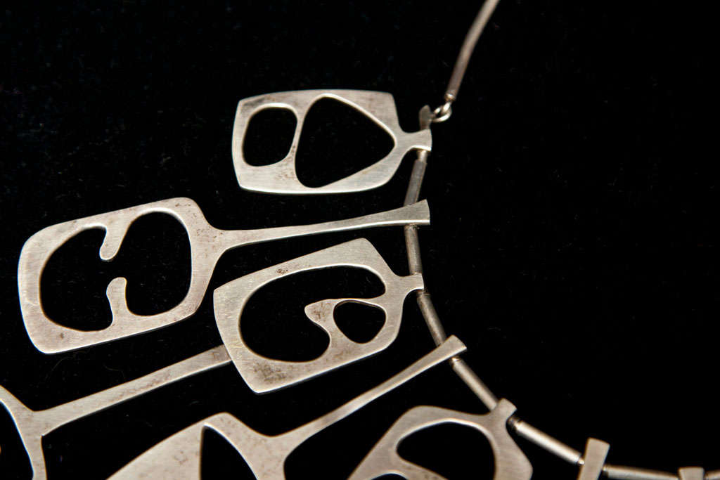 Mid Century Modernist Sterling Collar Necklace For Sale 1