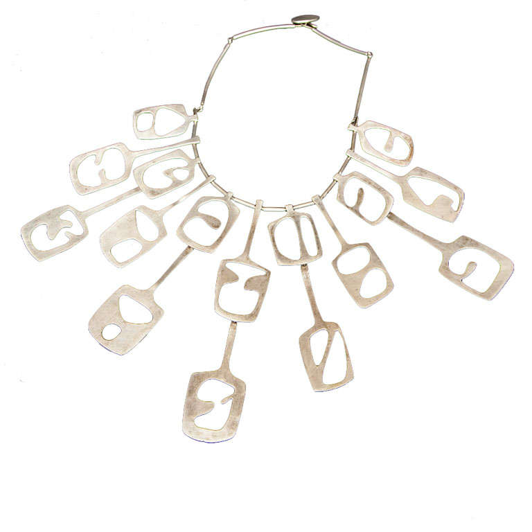Mid Century Modernist Sterling Collar Necklace For Sale