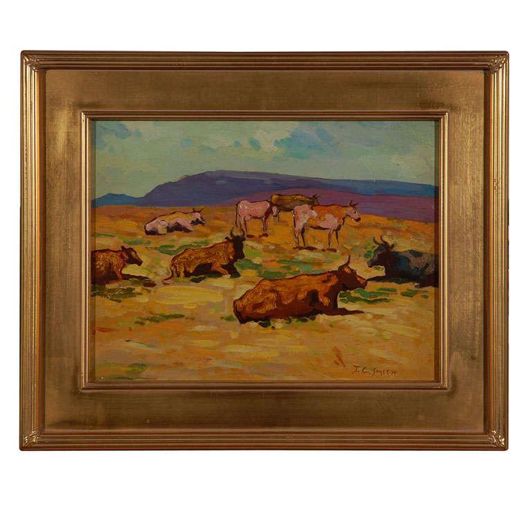 John Christopher Smith oil painting on board landscape