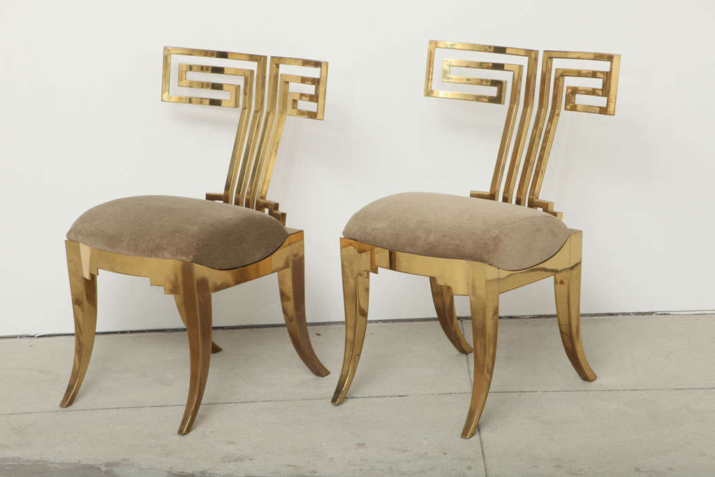 American Spectacular Pair of Brass Klismos Chairs.