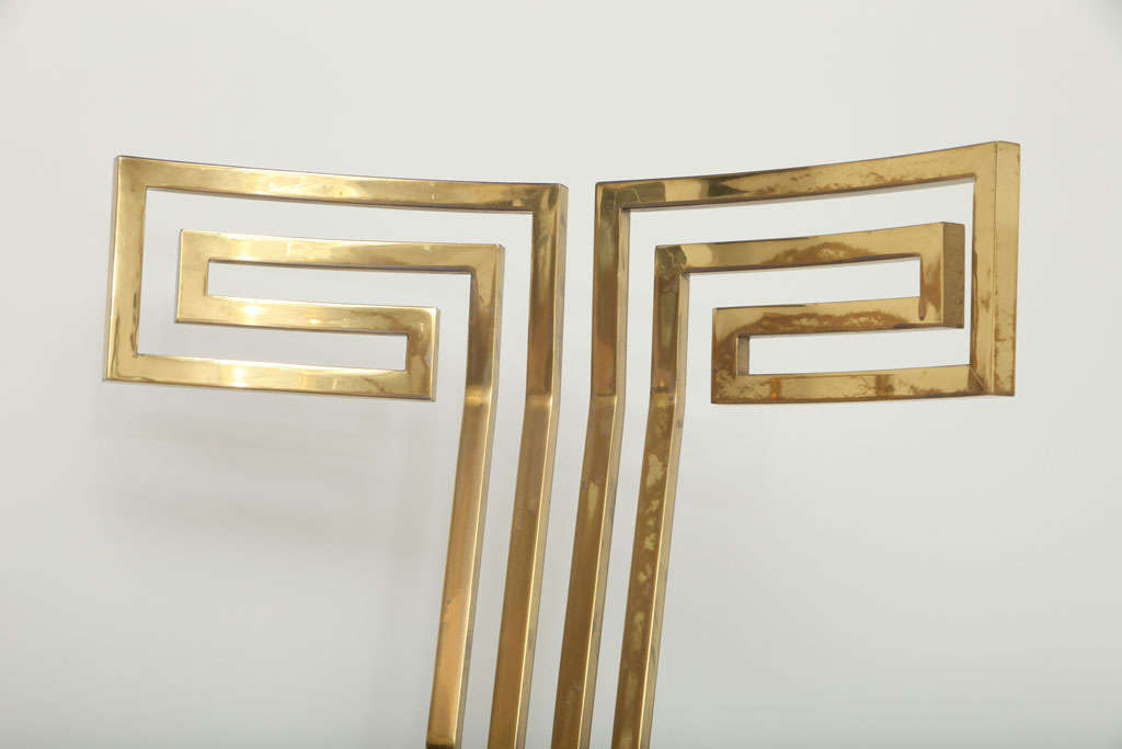 Late 20th Century Spectacular Pair of Brass Klismos Chairs.