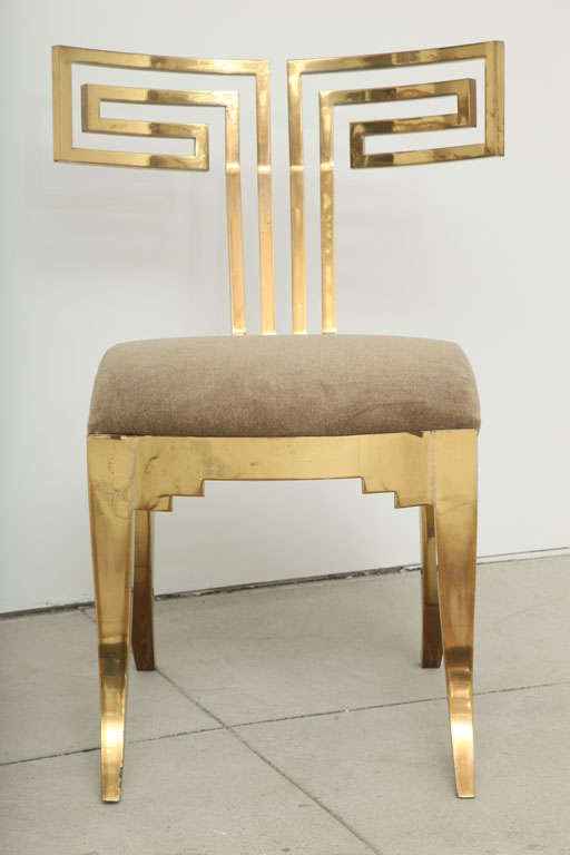 Spectacular Pair of Brass Klismos Chairs. 2
