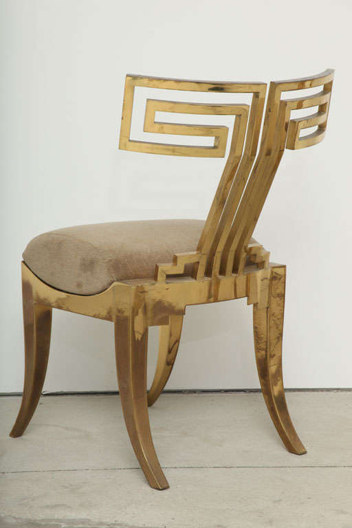 Spectacular Pair of Brass Klismos Chairs. 8
