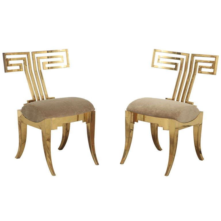 Spectacular Pair of Brass Klismos Chairs.