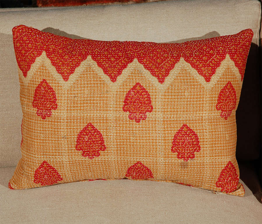 Vintage hand stitched Kantha cloth fabric pillow.