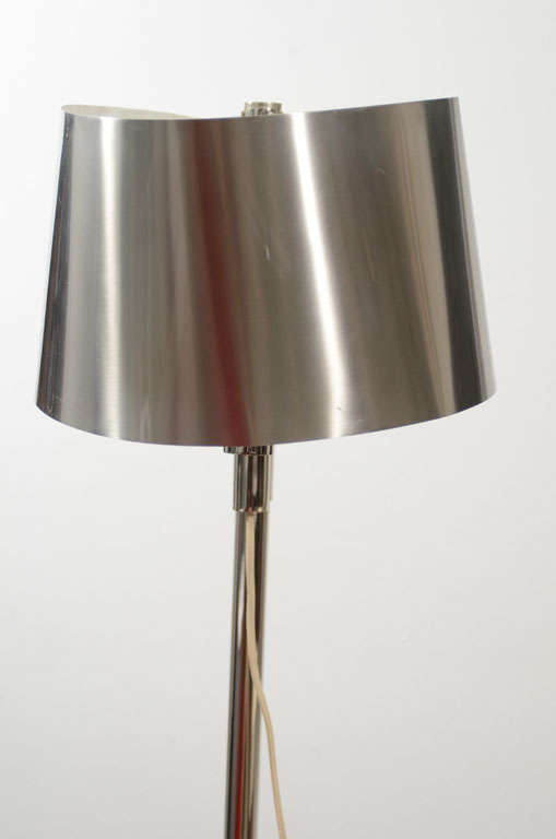 Curved Floor Lamp Large Shade : Pair of maison charles floor lamp with curved stainless