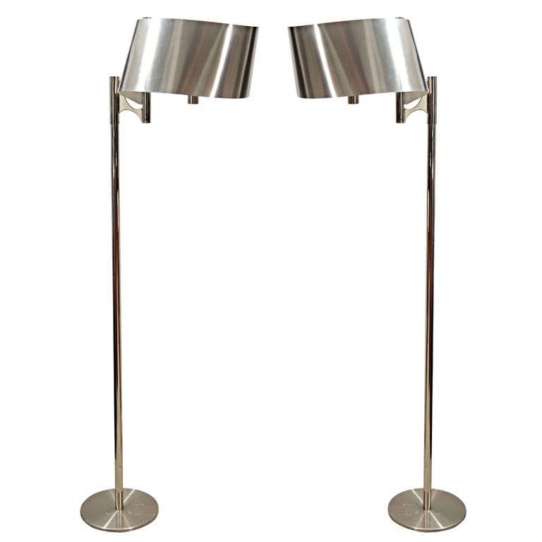 pair maison charles floor lamp with curved stainless shade sold as a. Black Bedroom Furniture Sets. Home Design Ideas