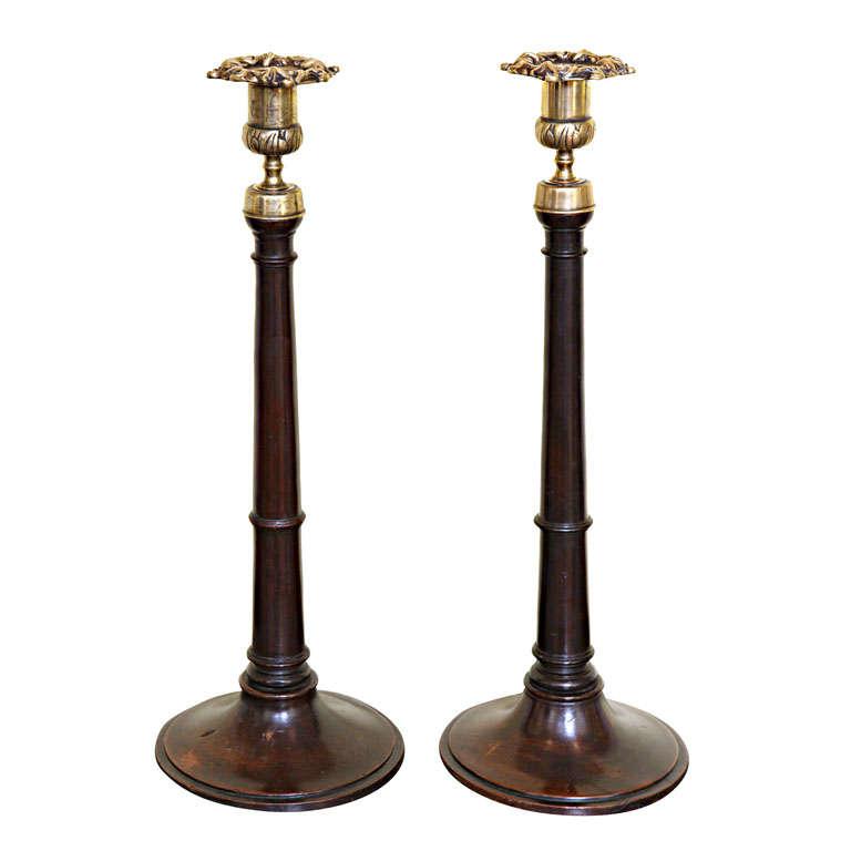 Brass Candlesticks pair of antique georgian mahogany and brass candlesticks, english