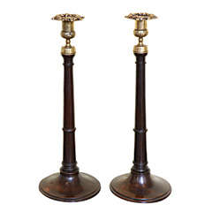Pair of Antique Georgian Mahogany and Brass Candlesticks, English, circa 1800